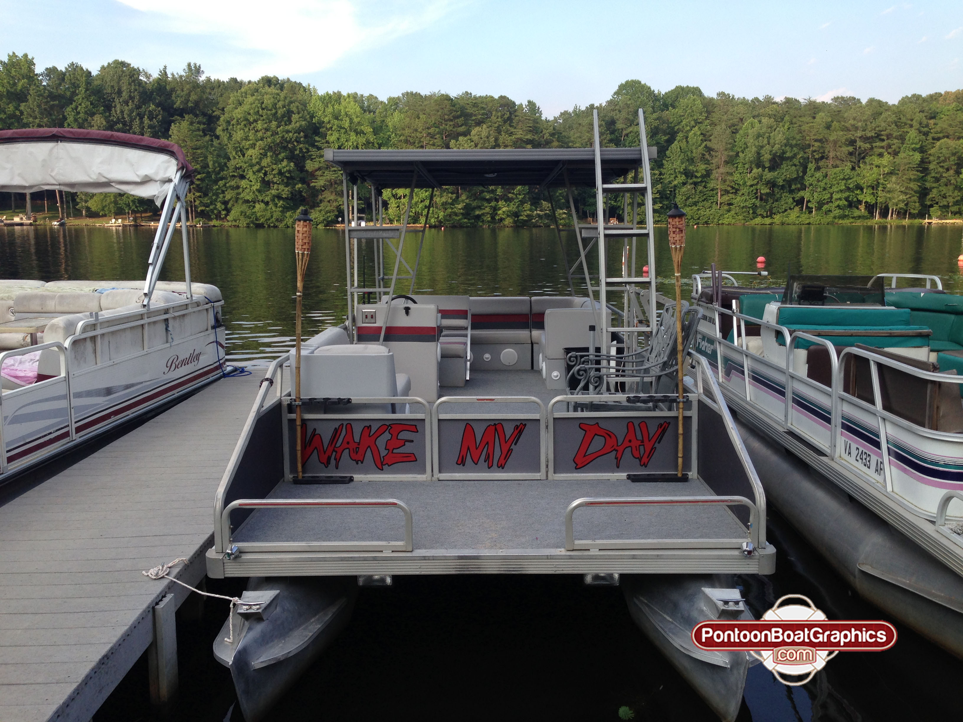 Wake My Day Pontoon Boat Graphics